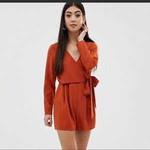 ASOS petite wrap playsuit with side ties new